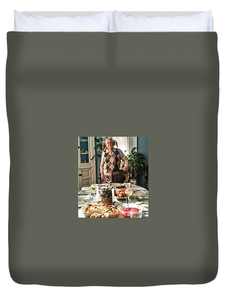 Dad On Thanksgiving Duvet Cover by Patricia Greer