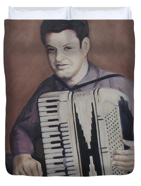 Daddy And His Accordion Duvet Cover