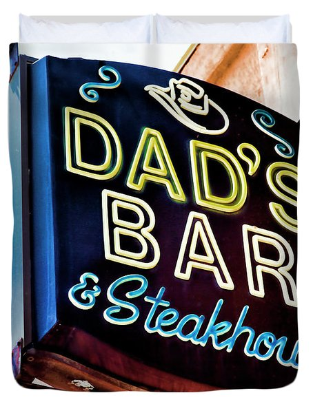 Dad's Bar And Steakhouse Vintage Neon Sign Duvet Cover