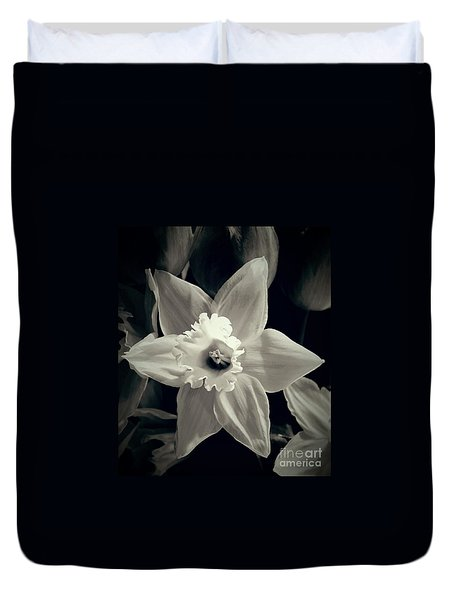 Duvet Cover featuring the photograph Daffodil And Tulips  by Angela J Wright