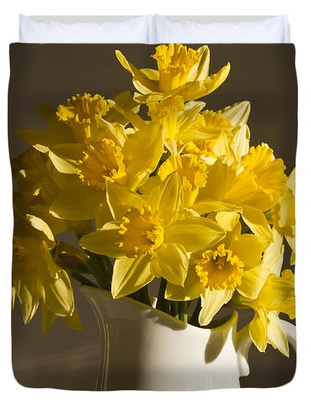Daffodil Filled Jug Duvet Cover by Sandra Foster