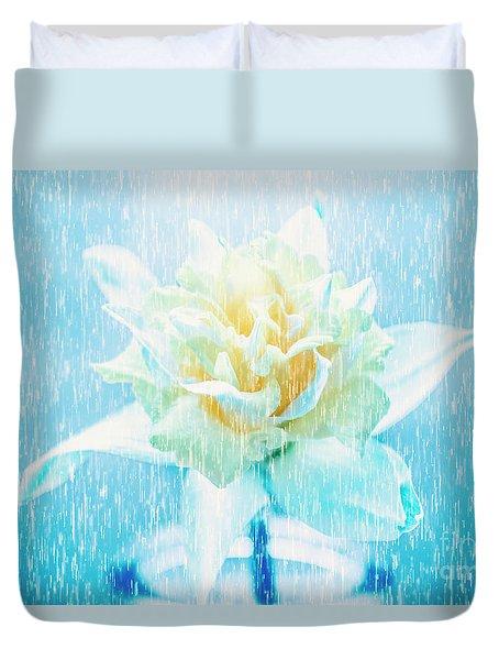 Daffodil Flower In Rain. Digital Art Duvet Cover