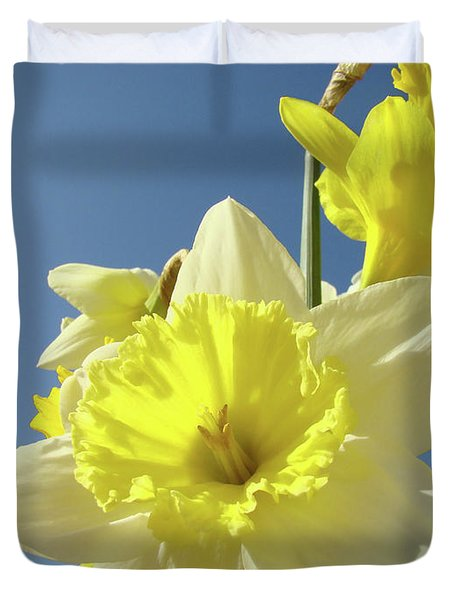 Daffodil Flowers Artwork Floral Photography Spring Flower Art Prints Duvet Cover by Baslee Troutman