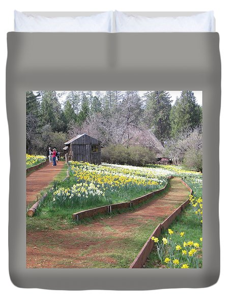Daffodil Hill Pathway Duvet Cover