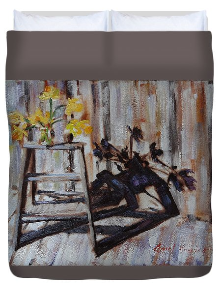 Daffodil Shadows Duvet Cover by Carol Berning