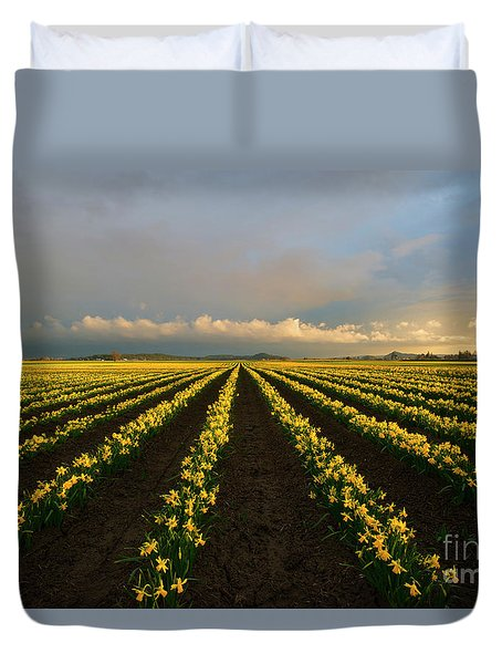 Duvet Cover featuring the photograph Daffodil Storm by Mike Dawson