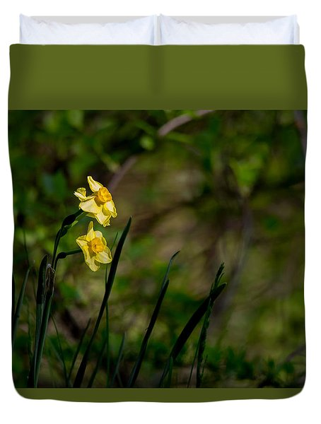 Daffodils Among The Green Duvet Cover