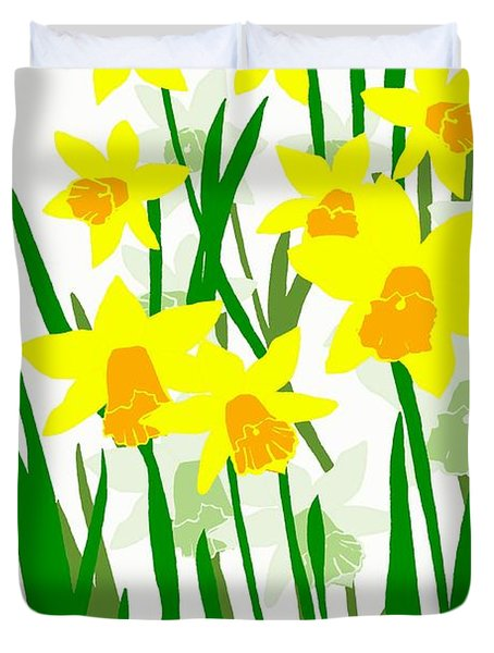 Duvet Cover featuring the digital art Daffodils Drawing by Barbara Moignard