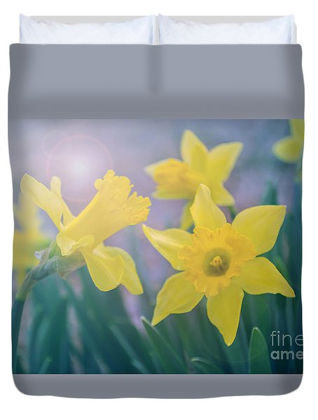 Daffodils In The Morning Duvet Cover
