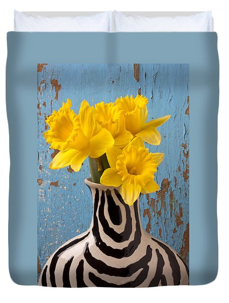 Daffodils In Wide Striped Vase Duvet Cover by Garry Gay