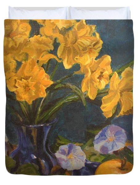 Duvet Cover featuring the painting Daffodils by Karen Ilari