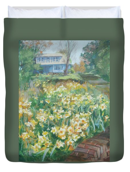Daffodils On The Corner Duvet Cover by Carol Strickland