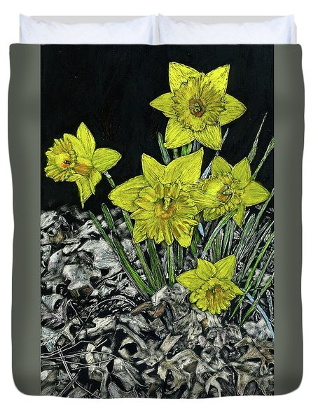 Daffodils Duvet Cover by Robert Goudreau