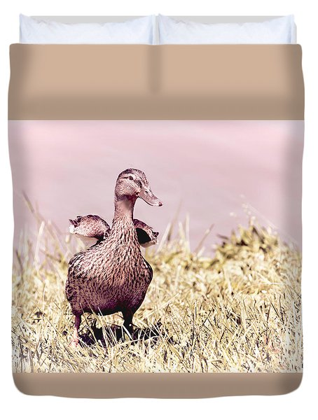 Duvet Cover featuring the photograph Daffy The Duck by Bonnie Willis
