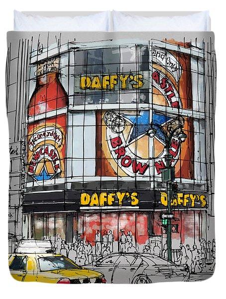Daffys New York City Yellow Cab Original Sketch Duvet Cover