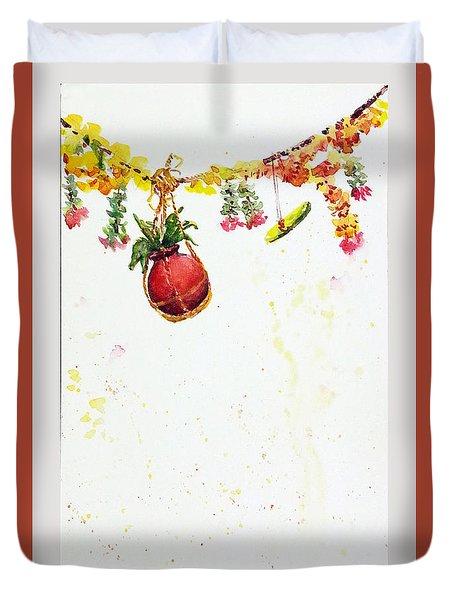 Duvet Cover featuring the painting Dahi Handi by Asha Sudhaker Shenoy
