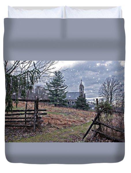 Dahlgren Chapel Winter Scene Duvet Cover
