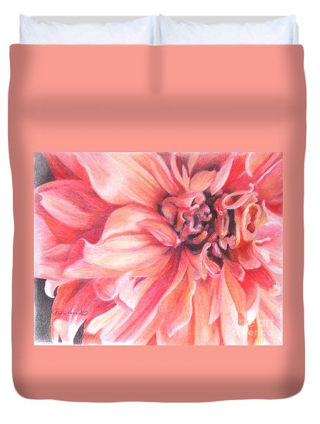 Duvet Cover featuring the drawing Dahlia 1 by Phyllis Howard