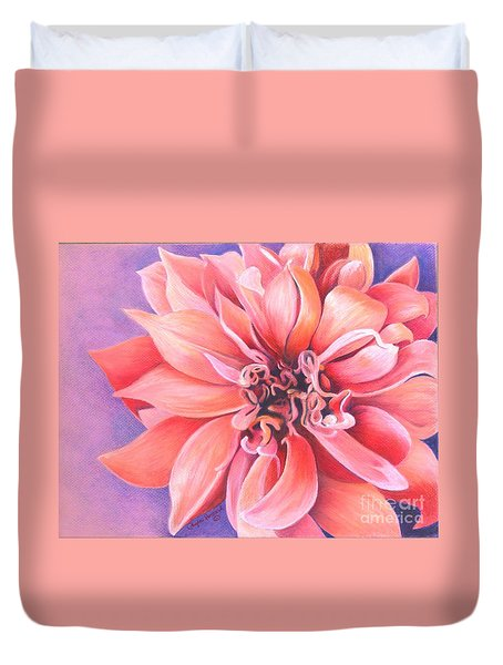 Duvet Cover featuring the drawing Dahlia 2 by Phyllis Howard