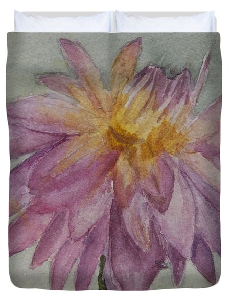 Duvet Cover featuring the painting Dahlia At Eastport Me by Donna Walsh