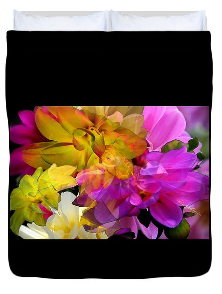 Duvet Cover featuring the digital art Dahlia Fantasy by Hanne Lore Koehler