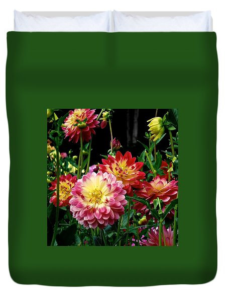 Dahlia Garden Time  Duvet Cover