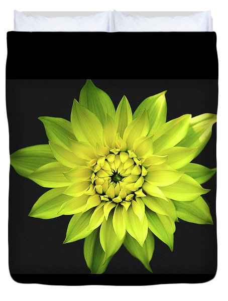 Duvet Cover featuring the photograph Dahlia In Yellow by Julie Palencia