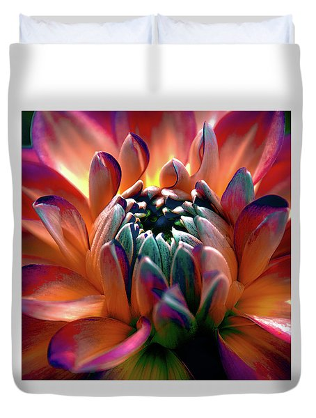 Duvet Cover featuring the photograph Dahlia Multi Colored Squared by Julie Palencia