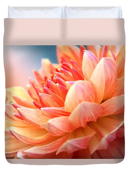 Dahlia Pink And Yellow Duvet Cover