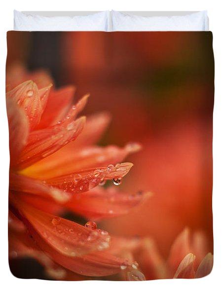 Dahlia Rainshower Duvet Cover by Mike Reid
