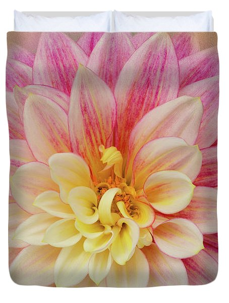 Duvet Cover featuring the photograph Dahlia With Golden Background by Mary Jo Allen