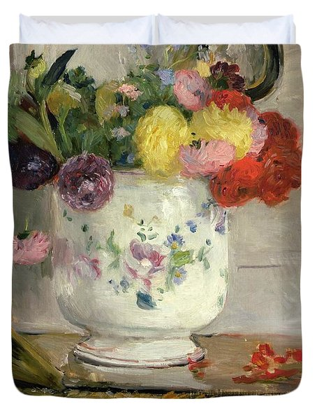 Dahlias Duvet Cover by Berthe Morisot