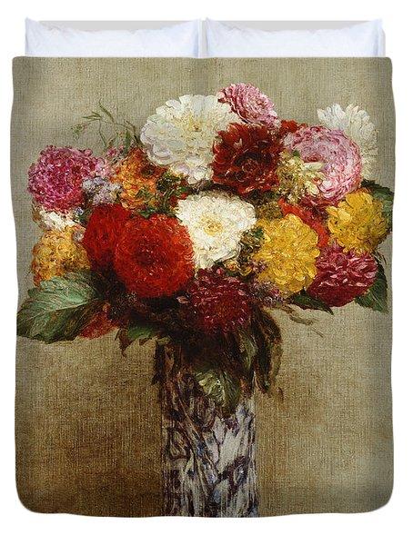 Dahlias In A Chinese Vase Duvet Cover by Ignace Henri Jean Fantin-Latour