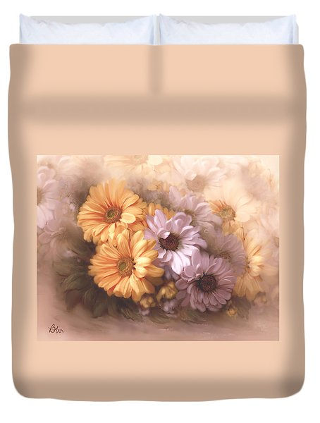Duvet Cover featuring the digital art Dahlias In Multiples by Bonnie Willis