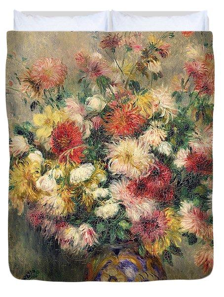 Dahlias Duvet Cover by Pierre Auguste Renoir