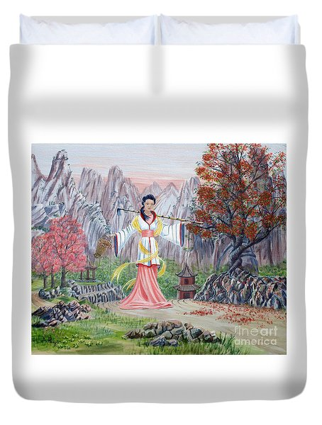 Duvet Cover featuring the painting Dai Yuu by Anthony Lyon
