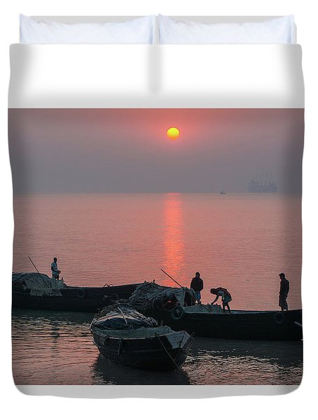 Daily Chores On The River Duvet Cover