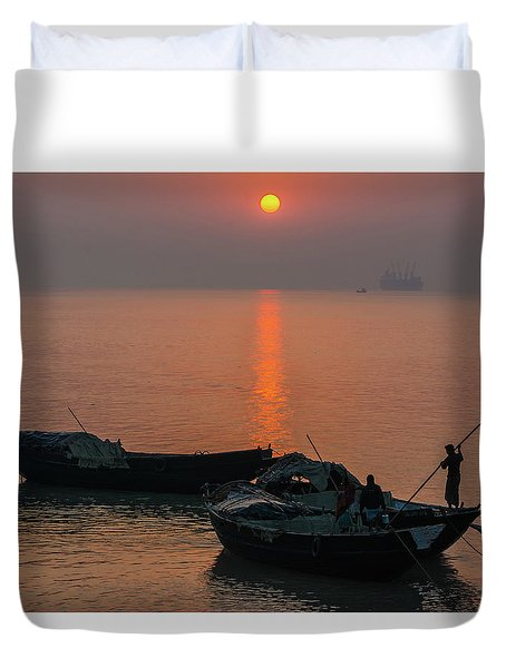 Daily Life Of Boatman Duvet Cover