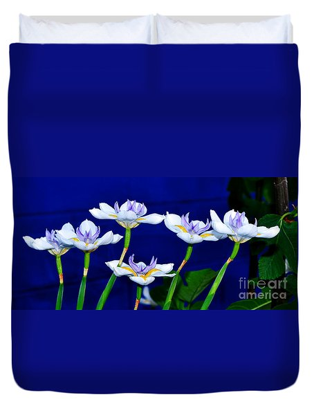 Dainty White Irises All In A Row Duvet Cover by Kaye Menner