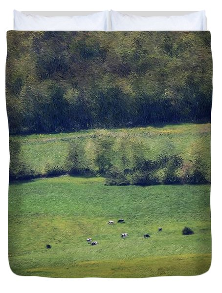 Dairy Farm In The Finger Lakes Duvet Cover by David Lane
