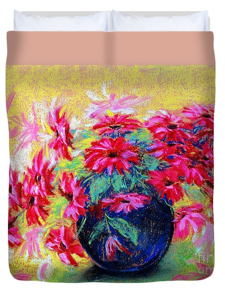 Daisies And Blue Vase Duvet Cover by Jasna Dragun