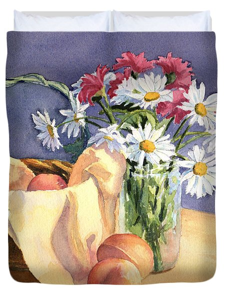 Daisies And Peaches Duvet Cover