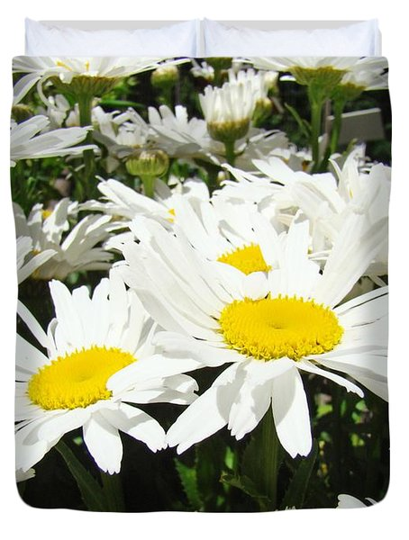 Daisies Floral Landscape Art Prints Daisy Flowers Baslee Troutman Duvet Cover by Baslee Troutman