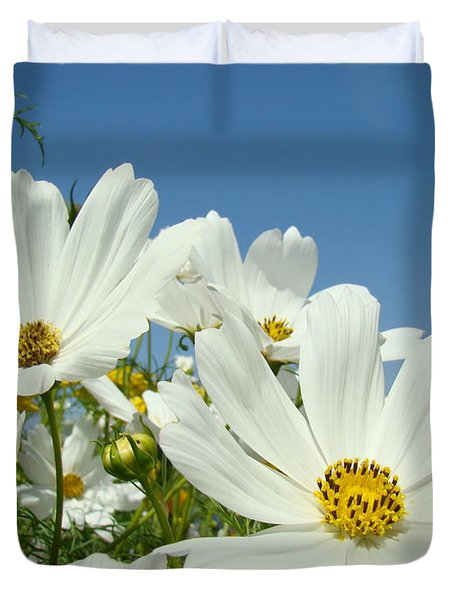 Daisies Flowers Art Prints White Daisy Flower Gardens Duvet Cover by Baslee Troutman