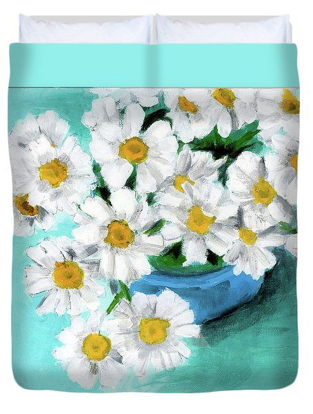Daisies In Blue Bowl Duvet Cover