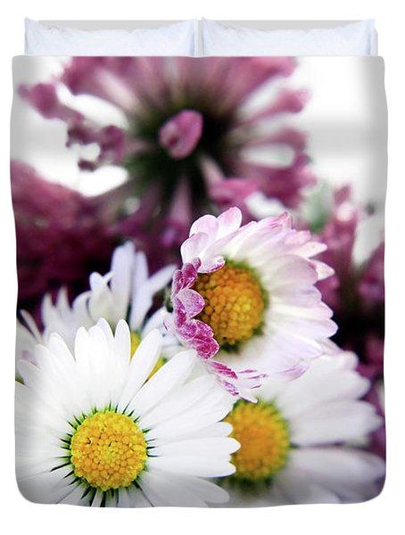 Daisies In Clover Duvet Cover by Terri Waters