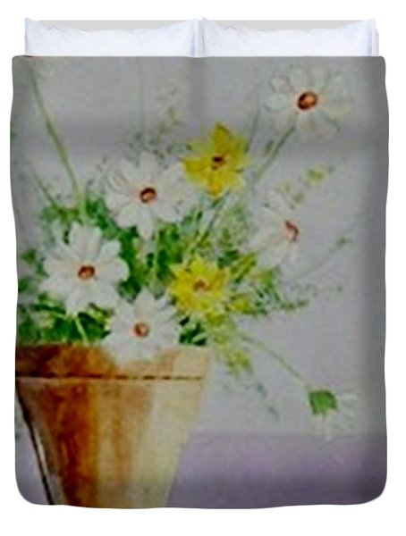 Daisies In Pot Duvet Cover by Jamie Frier