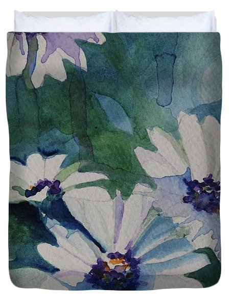 Daisies In The Blue Duvet Cover by Gretchen Bjornson