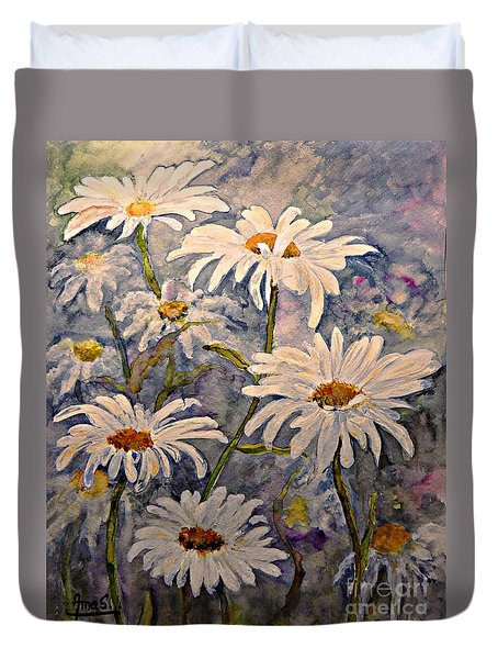 Daisies Watercolor Duvet Cover by AmaS Art