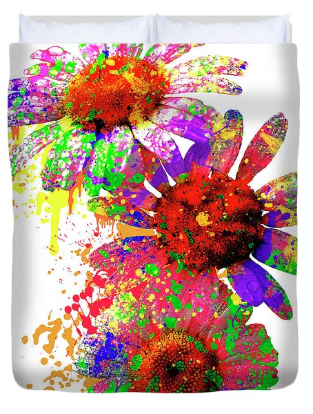 Daisy Abstract Duvet Cover by Ron Grafe